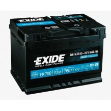 Аккумулятор EXIDE START-STOP AGM 70Ah Ев (-/+) (760EN) (д278*ш175*в190) , EK700